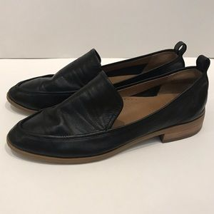 Susina Genuine Leather Black Loafers like Madewell